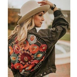 Distressed embroidered denim jacket